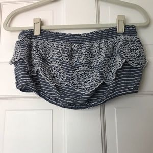 american eagle lace blue crop top